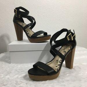 "Brash ""Jade"" Black Strappy Heels 7.5"